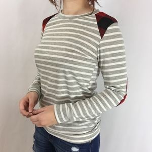 Striped Top with Plaid Shoulder & Elbow Patches